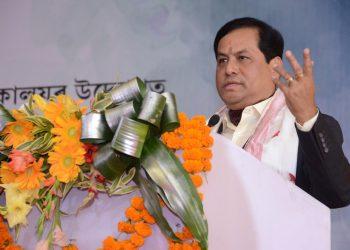 Assam CM Sarbananda Sonowal addressing the Silpi Diwas celebrations in Guwahati. Image credit: Twitter