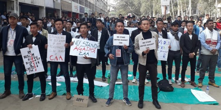 Students at a protest rally against CAA in Dimapur on Saturday.
