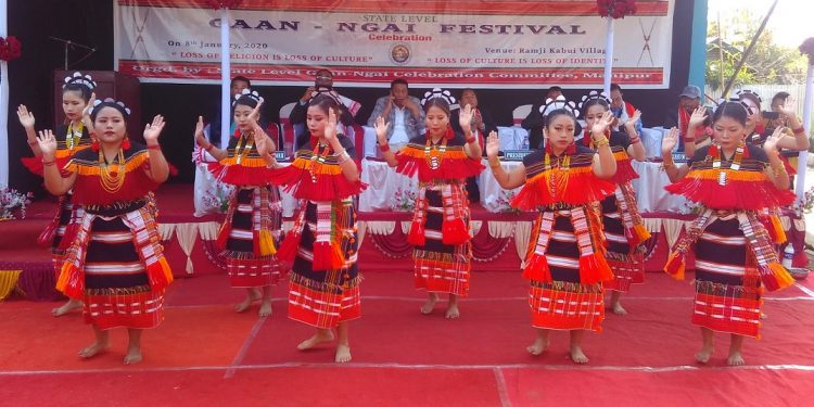 A traditional dance performance during opening function of Gaan Ngai festival in Manipur on January 8, 2020. Image: Northeast Now
