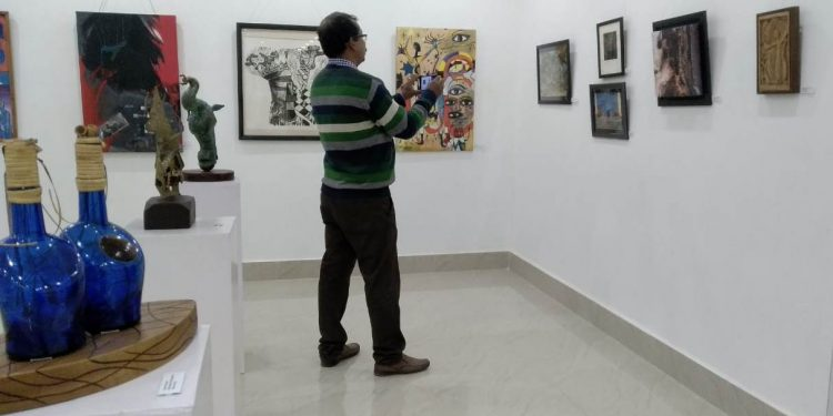 A visitor at the art exhibition.  Image credit: Special arrangement
