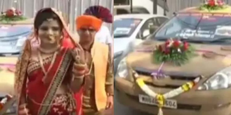Father paints cow dung on daughter's farewell carriage 1