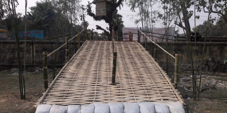 A makeshift bamboo structure erected for the ocassion at Tangla H.S playground in Tangla town of Udalguri district. Image: Northeast Now
