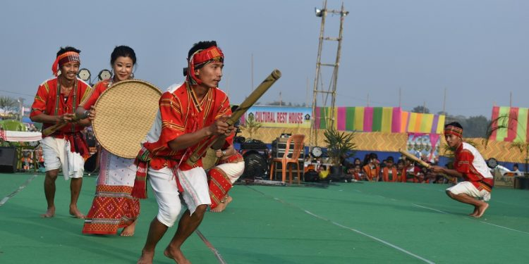 Cultural troupes performing on the open session of the event at Daoharu Fwthar on the outskirts of Khoirabari town in Udalguri district of Assam on January 21, 2020. Image: Northeast Now