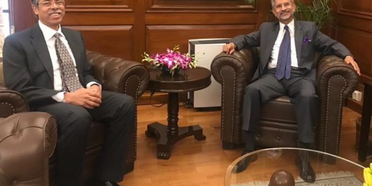 Bangladesh High commissioner to India Muhammad Imran meets Indian External Affairs Minister S Jaishankar at South Block on Friday.