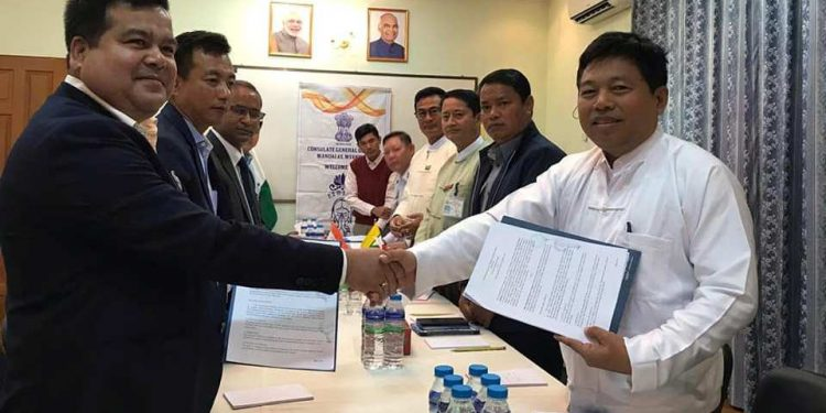 The MoU was signed between Shwe Mandalar Express Company Limited, Yangoon and Seven Sisters Holiday, Imphal on February 14.