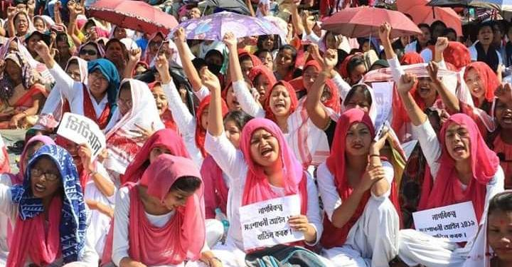The people holding play cards and banners participated in the rally against the CAA organised by AASU.(File image)