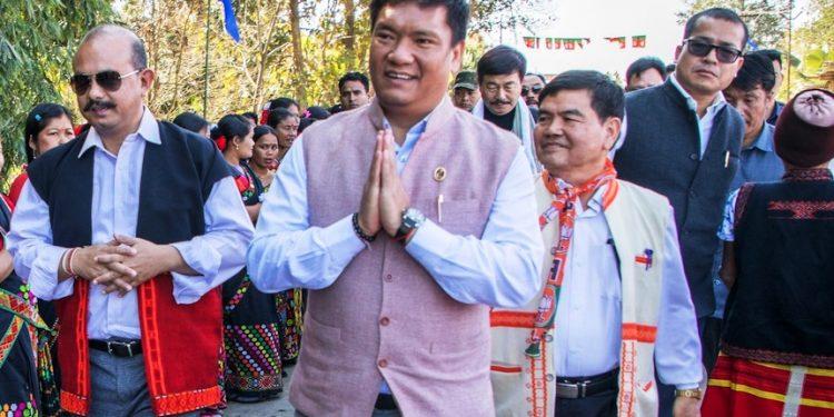 CM Khandu during the meeting at Ngopok village.