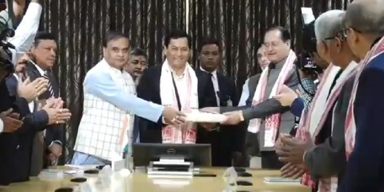 High-level committee chief Justice (Retd) Biplab Sarma submit report to Assam CM Sarbananda Sonowal.