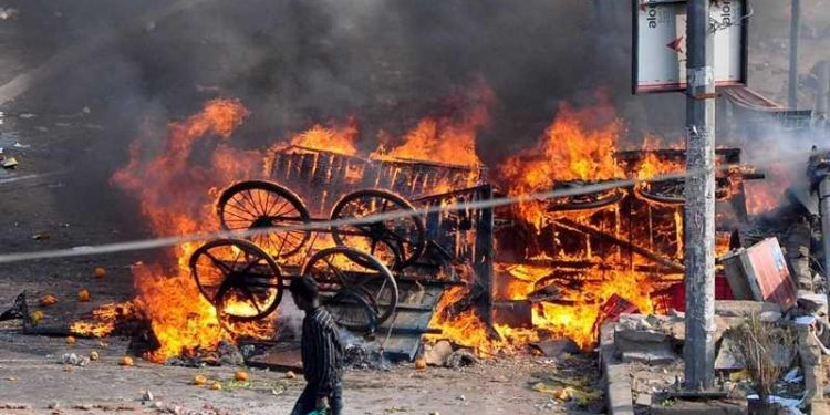 Shops being torched in North East Delhi. (File image)