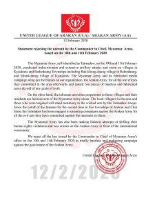 Myanmar: Arakan Army refutes military claim of war crimes 1