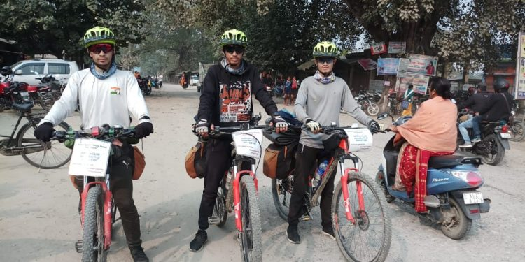 The three cyclists at Bhergaon in Udalguri district on February 15, 2020. Image: Northeast Now