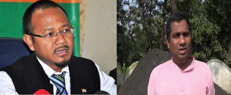 Joint up image of Meghalaya minister james K Sangma (left) and coal mafia Abdul Ahad Choudhury