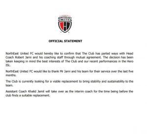 NEUFC part ways with head coach Robert Jarni 1