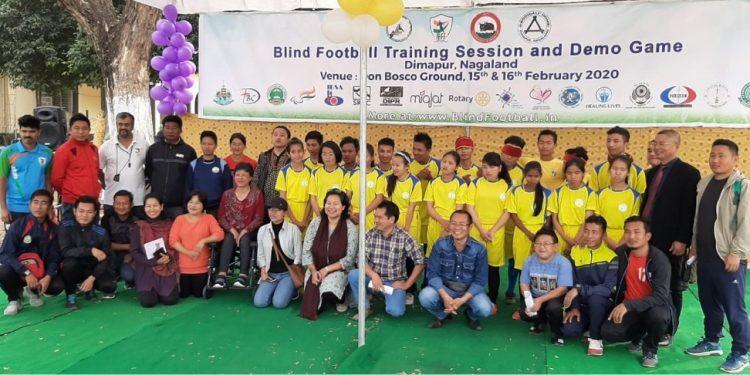 Footballers at Nagaland Blind Football Training camp at Dimapur.