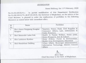 James Sangma out, Lahkmen Rymbui in as Meghalaya home (police) minister 3