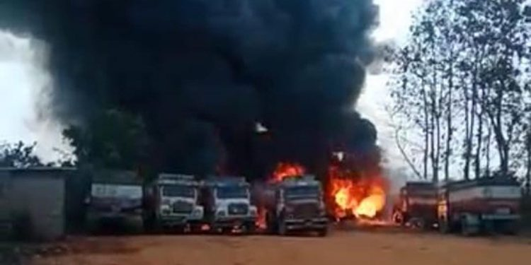 Fire in tanker