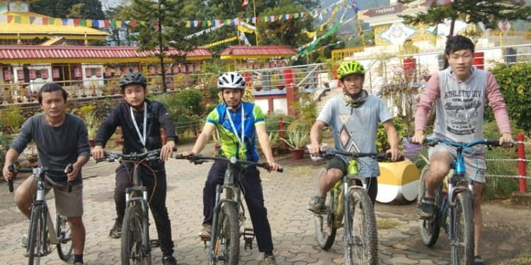 The riders of the club drove from the Yupia Junction to the Itanagar Monastery .