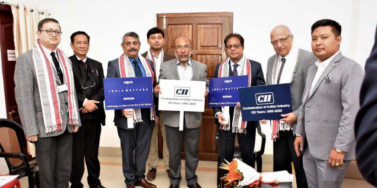 Manipur CM N Biren Singh felicitated by a CII team. Image: Twitter