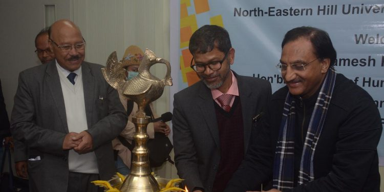 HRD minister Ramesh Pokhriyal with other dignitaries. Image: Northeast Now
