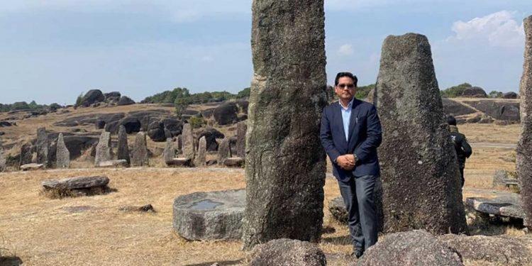 Meghalaya CM Conrad Sangma at the monoliths of Mawkyrduk