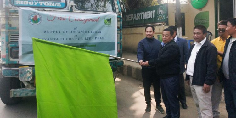 Consignment of organic ginger being flagged off from Imphal on Wednesday. Image: Northeast Now