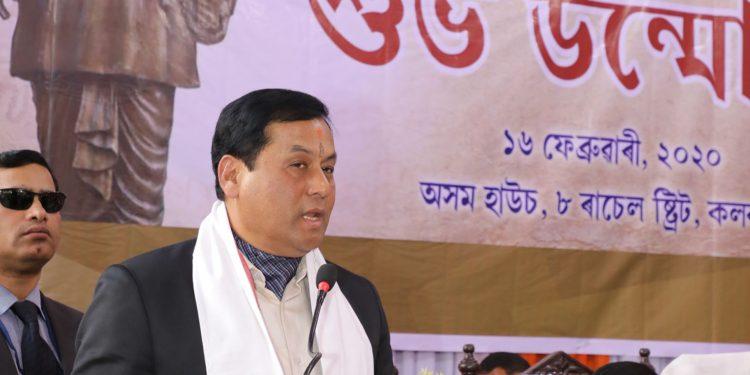 Assam CM Sarbananda Sonowal speaking after inaugurating Lakshminath Bezbaroa's statue in Kolkata