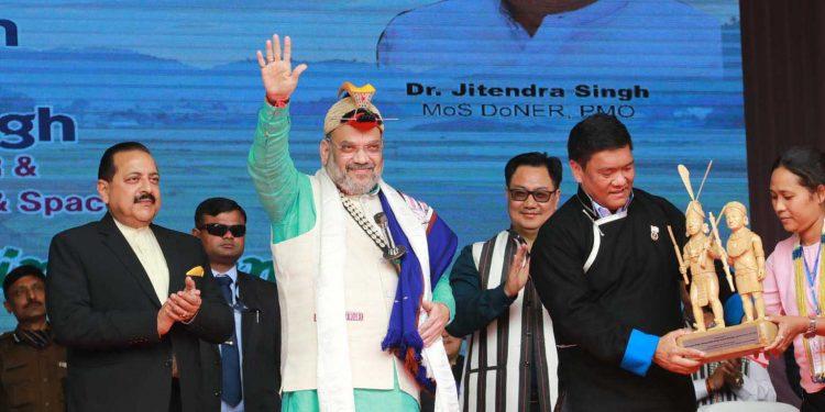 Union home minister Amit Shah along with DoNER minister Jitendra Singh, union sports minister Kiren Rijiju and Arunachal Pradesh CM Pema Khandu at the   34th Statehood Day celebrations of Arunachal in Itanagar on Thursday. Image credit: PIB