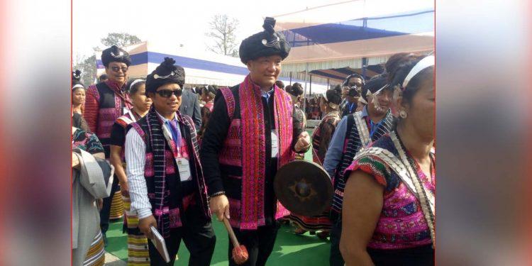 Arunchal CM Pema Khandu taking part at Tamla-Du festival in Tezu. Image: Northeast Now