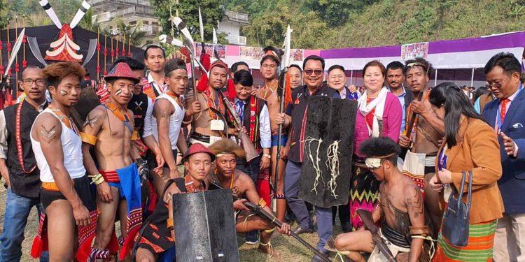 Arunachal deputy CM Chown Mein (black jacket) during the festival at Itanagar on Sunday. Image: Northeast Now