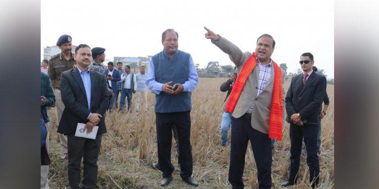 Assam finance minister Himanta Biswa Sarma revieweing the preparation for Narendra Modi's February 7 Kokrajhar visit. Image: Northeast Now