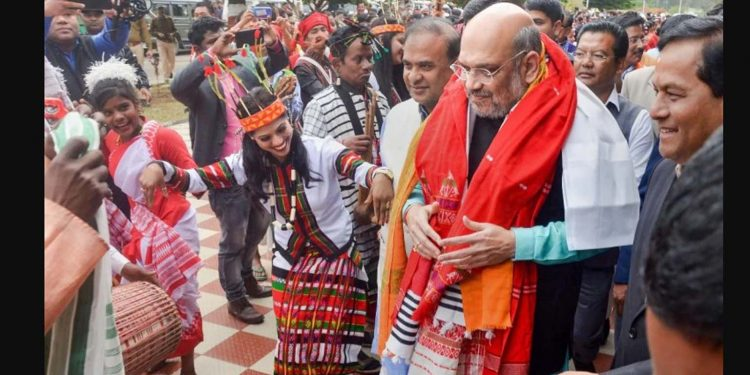 Union home minister Amit Shah being welcomed upon his arrival in Itanagar on Thursday. Image credit: India Today