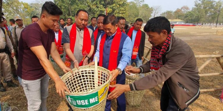 Bamboo dustbins being installed at KYF venue in Taralangso. Image: Northeast Now