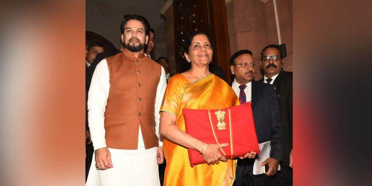 Union finance minister Nirmala Sitharaman making her way to the Lok Sabha with the union budget. Image credit: PIB