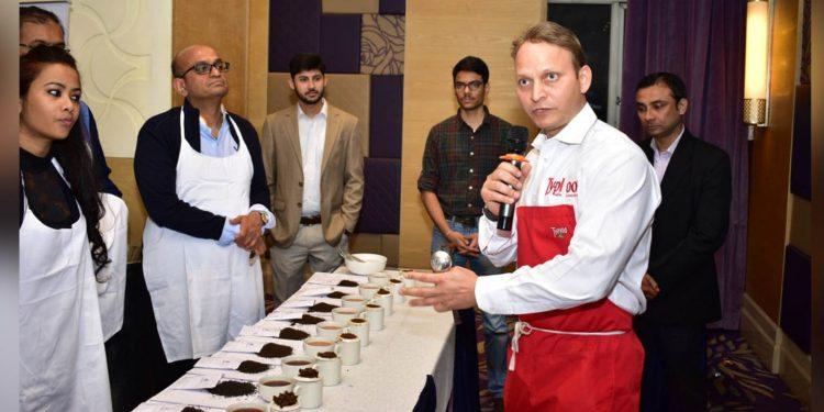 Master tea blender Razi Khan during the tea tasting session
