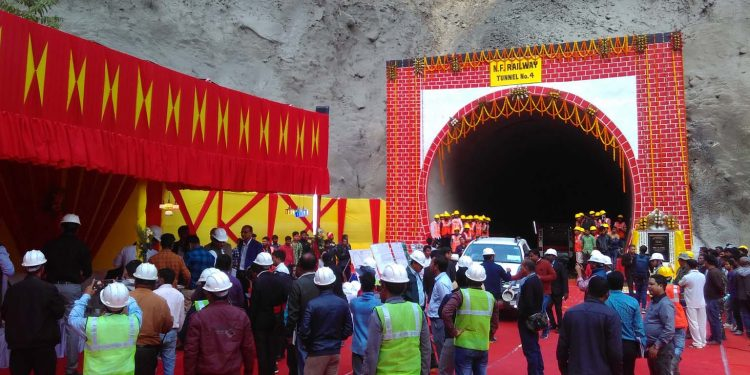 The newly inaugurated tunnel number 4 of Jiribam-Imphal railway line