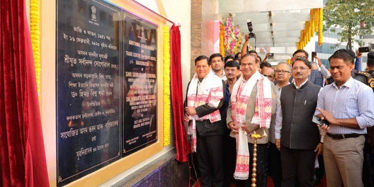 Assam CM Sarbananda Sonowal in presence of others inaugurating the new Assam Bhawan in Kolkata
