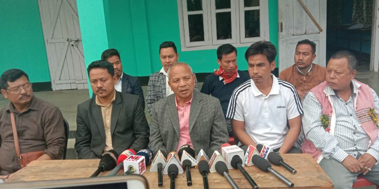 JACAS chairmanKharsing Teron addressing the joint press conference at KSA office at Rongnihang Diphu on Wednesday. Image: Northeast Now