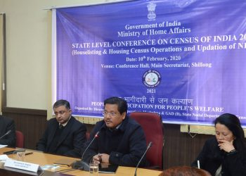 Meghalaya CM Conrad Sangma speaking at the State Level Conference on Census of India 2021 in Shillong on Monday. Image: Northeast Now