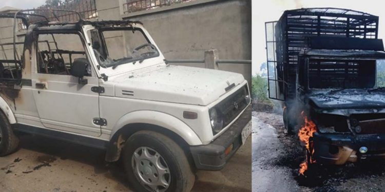 Vehicles torched in Shillong
