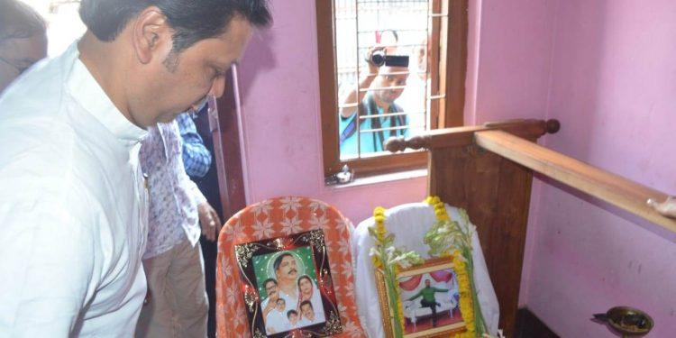 Chief minister Biplab Kr Deb visits Bhaskar Debroy's house in Agartala on Tuesday.