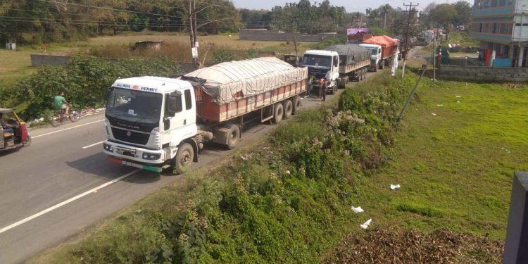 coal-laden trucks