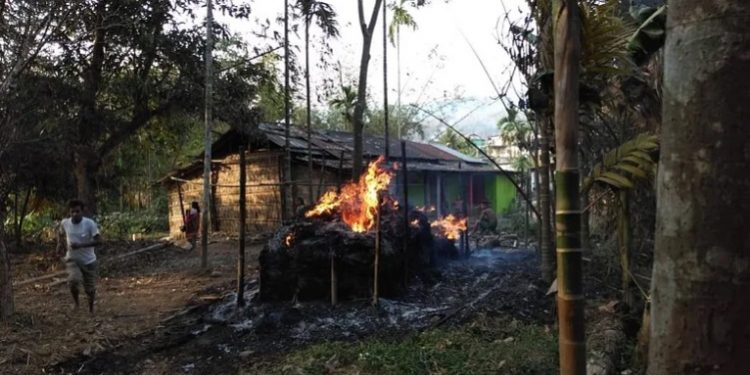 Houses were torched by miscreants following the clash in Shella area. (File image)