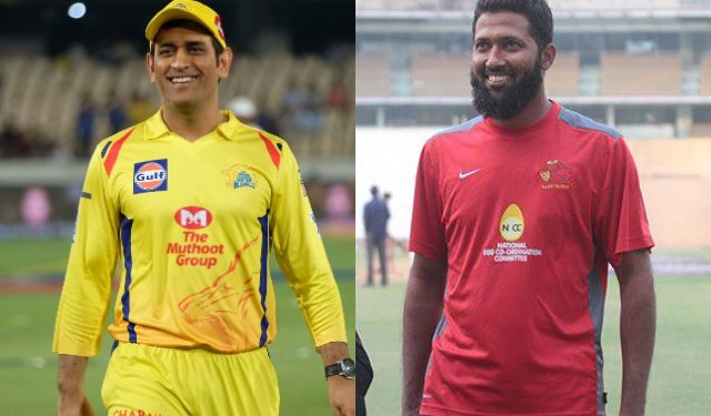 Joint up image of M S Dhoni and Wasim Jaffer. Image courtesy: CricTracker.com