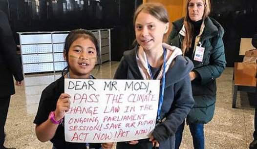 Kangujam Kangujam, known as Indian 'Greta' had staged a protest outside Parliament in July last year. Image credit: Twitter