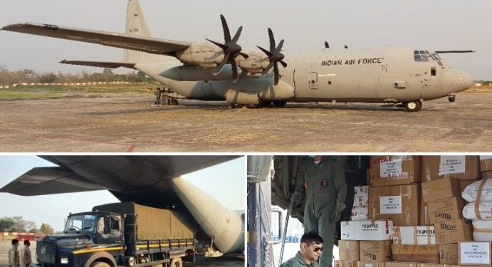 Medical eqiumnet consignment at Dimapur airport on Monday.
