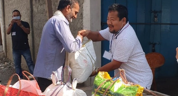 Free ration is being handed over to workers who are not covered under National Food Security Act.