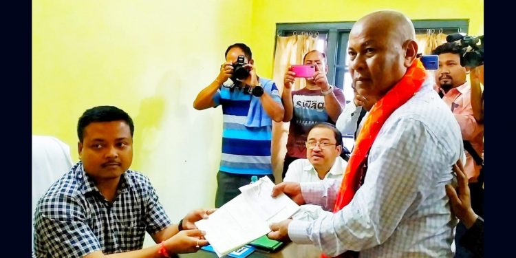 BTC chief hagrama Mohilary filing his nomination papers on Monday. Image: Northeast Now