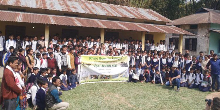 DSWF and Aaranyak members with school children at Rhino Goes to School programme in Kaziranga.