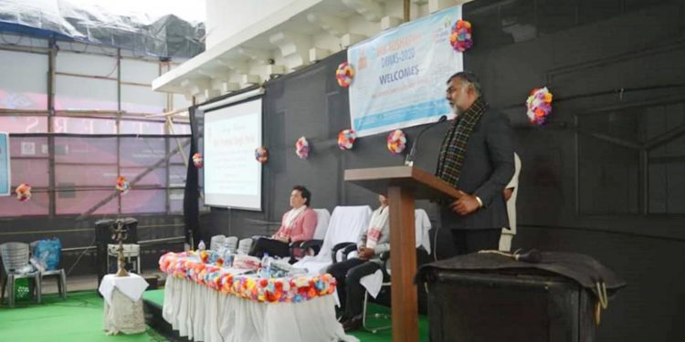 Union tourism minister Prahlad Singh Patel addressing a gathering at GIPS in Guwahati
