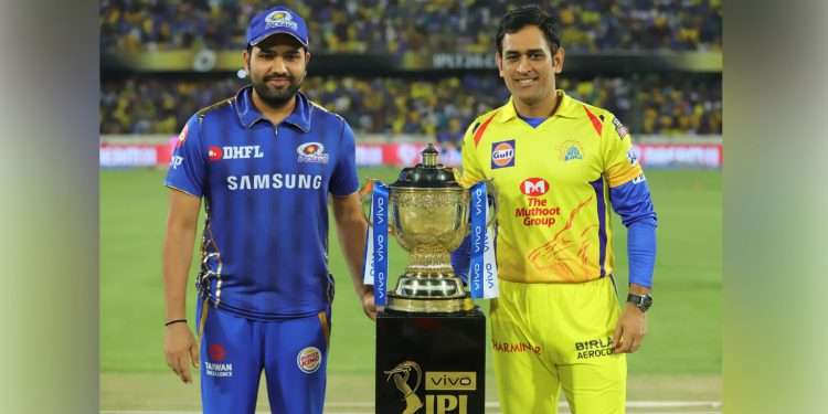 Mumbai Indians captain Rohit Sharma (left) with Chennai Super Kings skipper MS Dhoni (right) before the 2019 IP final. Image credit: CricketAddictor